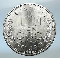 1964 JAPAN Tokyo Summer Olympic Games 3.5cm Silver Japanese MT FUJI Coin i73772