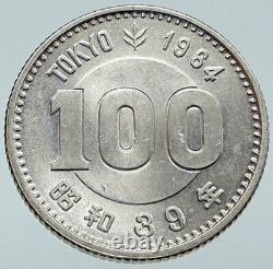 1964 JAPAN Tokyo Summer Olympic Games w RINGS VINTAGE Silver 100 Yen Coin i86124