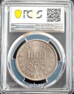 1964, Japan. Large Silver 1000 Yuan Olympics / Mount Fuji Coin. PCGS MS-67