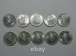 1968 Mexico 25 Pesos Olympics Silver Half-Roll of 10 Coins