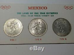 1968 Mexico Olympics Type 1,2, & 3 Silver Mexico 25 Peso-3 coin set mjb