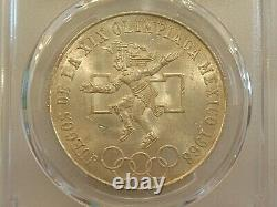 1968 Mexico Silver Olympics 25P PCGS MS64 LOW RING STRAIGHT TONGUE TYPE II COIN