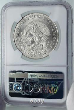 1968 Mexico XIX Olympic Games AZTEC Ball Player 25 Pesos Silver Coin NGC i86017