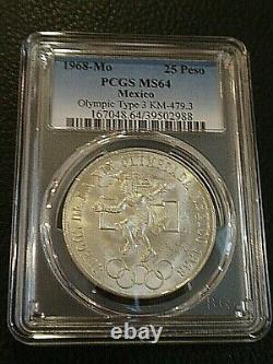 1968-Mo Mexico Silver Olympics 25P PCGS MS64 LOW RING CURVE TONGUE TYPE III COIN