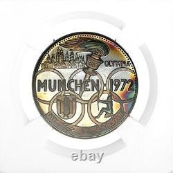 1970 SH 1389 Fujairah UAE 5 Riyals Munich Olympics Silver Coin NGC PF 68 Cameo