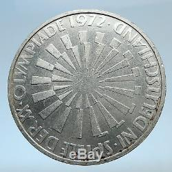 1972 Germany Munich Summer Olympic Games SPIRAL 10 Mark Silver Coin i74036