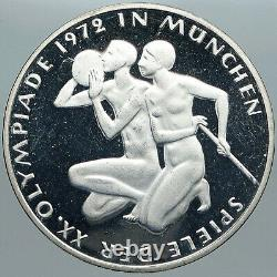 1972 Germany Munich Summer Olympics XX ATHLETES Proof Silver 10 Mark Coin i88960