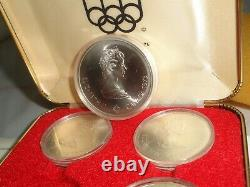 1973 Canada. 925 Silver 4 Coin Set for 1976 Montreal Olympic Games Series I COA