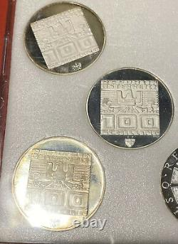 1976 Austrian (Innsbruck) Winter Olympic 7 Coin Set, 100 Shilling, Silver Coins