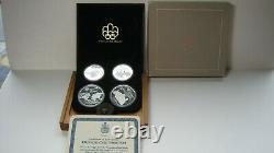 1976 CANADIAN MONTREAL OLYMPIC GAMES 4 COIN SET WithCOA SERIES 1.925 SILVER