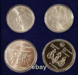 1976 Canada Montreal Olympics Sterling Silver Coin Set Two $5 &Two $10 Coins MG