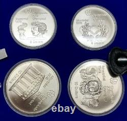 1976 Canada Olympic Silver 4 Coin Set 4.32oz Troy Original Packaging
