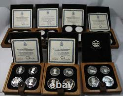 1976 Canadian Olympic Silver Coin Proof 7 Case Set Series VI with Stand