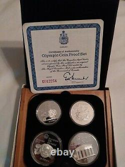1976 Montreal Olympics 4 Silver Coin Set uncirculated With COA
