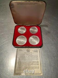 1976 Silver Canadian Montreal Olympics 4 Coin Set Olympiade XXI Olympiad 5$ 10$