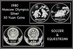 1980 China Silver 30 Yuan Moscow Olympic Coins Equestrian & Soccer Proof and Box