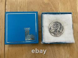 1980 Lake Placid Olympic Silver Medallion Coin of Participation Medal with Box