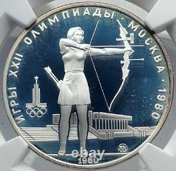 1980 MOSCOW Russia Olympics ARCHERY Genuine Proof Silver 5R Coin NGC i82064