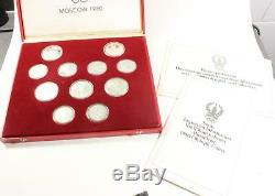 1980 Moscow Olympic 28 Silver Coin Proof Set with Box and COA 76370
