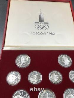 1980 Moscow Olympic silver (. 900) coin set. 28 pieces withcase