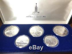 1980 Moscow Olympics 5 Coin SILVER Coin Set