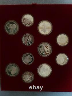 1980 Moscow Olympics Silver Coin Set 5 & 10 Roubles 28 Coin Proof Set W Case Coa