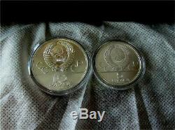 1980 Moscow Olympics Silver Coin Set 5 -10 Ruble Rouble 5 Coins Box
