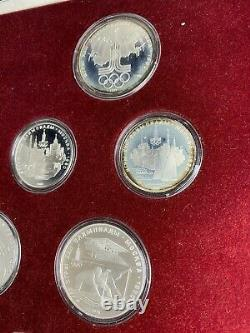 1980 Moscow Summer Olympics Russia USSR Silver 28 Coin Proof Set With Box & COA