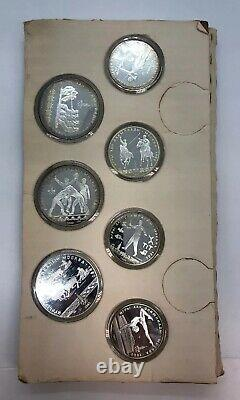 1980 Olympic Moscow Silver Proof Coins Series V VI 5 & 10 Roubles Set of 7 Coins