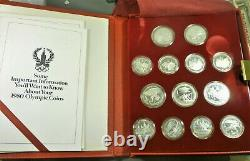 1980 Russia Moscow Olympic Silver (. 900) Coin Set withCase & COA ASW 20.24 oz
