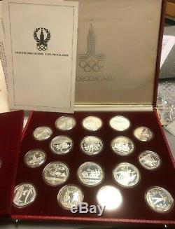 1980 Russia USSR Moscow Olympic 28-Coin Silver Proof Set with Box & Certificates