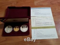 1983 1984 Olympic 3 Coin Commemorative Proof Set $10 Gold & 2 Silver Dollars