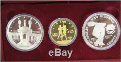 1983-1984 Olympic 3 Coin Commemorative Proof Set with $10 Gold & 2 Silver Dollars