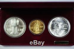 1983-1984 Olympic 3 Coin Commemorative UNC Set with $10 Gold & 2 Silver Dollars