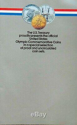 1983-1984 Olympic 3 Coin Proof Set $10 Gold Eagle & 2 Silver $1 with orig docs