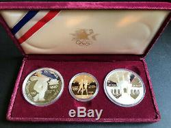 1983-1984 Olympic 3 Coin Proof Set $10 Gold Eagle and 2 Silver $1 with orig ad