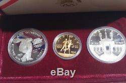 1983-1984 Olympic 3 Coin Proof Set $10 Gold Eagle and 2 Silver Dollars with Case +