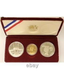 1983-1984 Olympic 3-Coin Set $10 Dollar Gold-1/2 Oz 2-Silver Dollars 1 Oz Comm