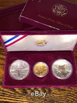 1983 & 1984 Us Gold & Silver Olympic 3 Coin Commemorative Proof Set Uncirculated