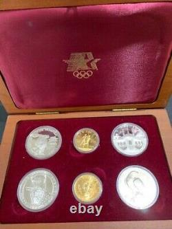 1983-84 Olympic 6 Coin Set 2 $10 Gold Coins, 4 Silver Dollar Coins Proof & BU