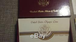 1983-84 US Mint Olympic Commemorative Proof Coin set $10 Gold & 2 Silver Dollars