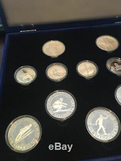 1984 Los Angeles Sarajevo Olympics Proof Set Silver Coins with Box and Papers