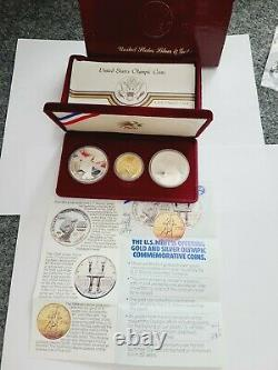 1984 Olympic 3 Coin US Mint Set Silver $1 Gold $10 Coins