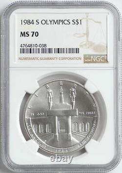 1984 S Olympics NGC MS70 Silver Commemorative Dollar $1 Coin MS 70