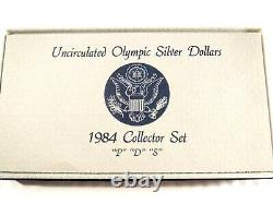 1984 Uncirculated Olympic Silver Dollars 3 Coin Collectors Set P D S P-022