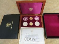 1984 W Olympics Gold & Silver 6 Coin Commemorative Set In Original Package