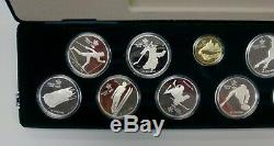 1988 Olympic Calgary 10 Coin Silver & 1 Gold Proof Set Original box with COA