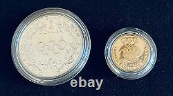 1988 Proof Olympic Coins Silver Dollar and $5 Gold Commemorative Set