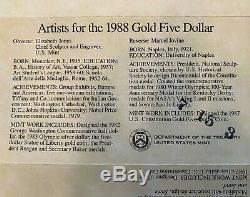 1988 Proof Olympic Commemorative 2 Coin Set $5 Gold & Silver Dollar with COA & Box