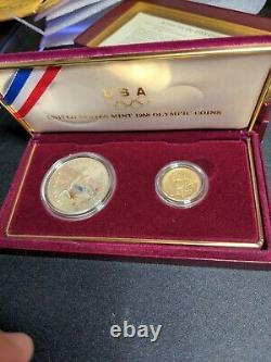 1988 Proof Silver Dollar and Gold Five Dollar US Olympic Coins (see photos)